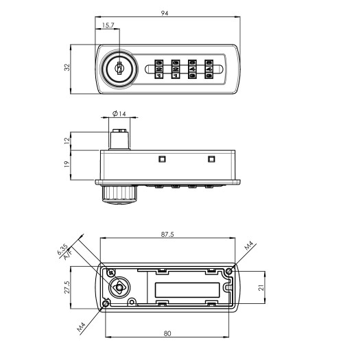 Gemini Mechanical Combination Lock 2700 Technical Drawing